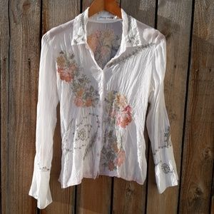 Johnny Was Embroidered Blouse - Small